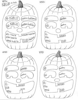 Spanish verb conjugation worksheet ~verb poster ~practice ~Halloween ~No Prep