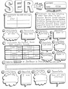 Spanish verb doodle bundle ser estar tener poder pedir querer verb no prep