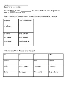 Spanish verb querer notes and practice worksheet from Expresate 1