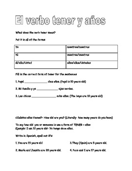 Spanish verb tener and practice with age guided notes