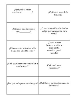 Spanish version  Blooms Higher Order Thinking Cards for Reading Comprehension