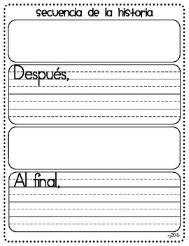 Spanish version - Story Sequence Graphic Organizer - First, Next, Then, and Last