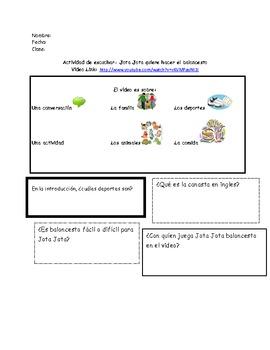 Spanish video worksheet-Jota Jota