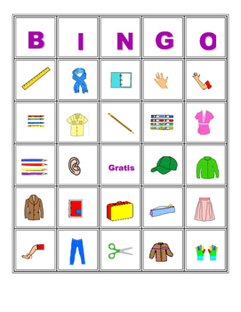 Spanish vocabulary bingo 2