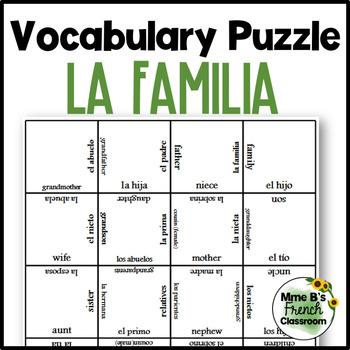 Spanish vocabulary puzzle: La familia/family