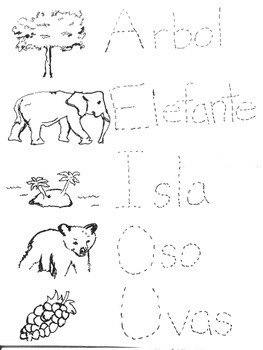 Spanish vowels. Trace and color.