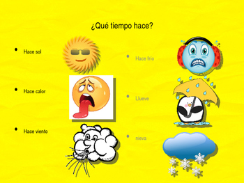 Spanish weather, days of the week, and months PPT