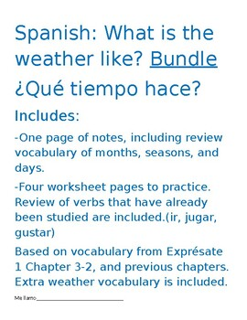 Spanish Weather Notes and Practice Worksheets Bundle!