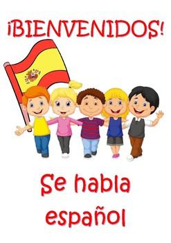 Spanish welcome BIENVENIDOS classroom poster