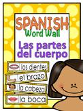 Las partes del cuerpo - Spanish word wall