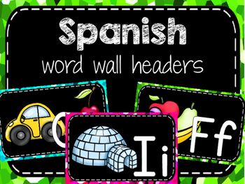Spanish word wall headers