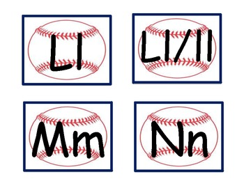 Spanish word wall letters-baseball-blue outline