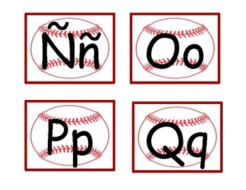Spanish word wall letters-baseball--red outlined