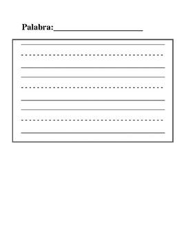 Spanish word writing practice