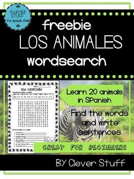 "Spanish wordsearch ""Los Animales"""
