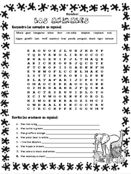 "Spanish wordsearch ""Los Animales"""