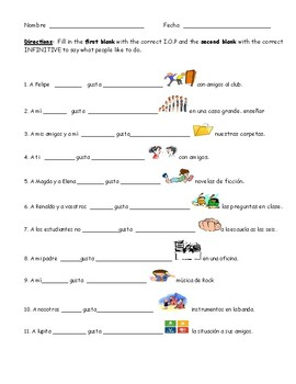 Spanish worksheet: GUSTAR + INFINITIVE