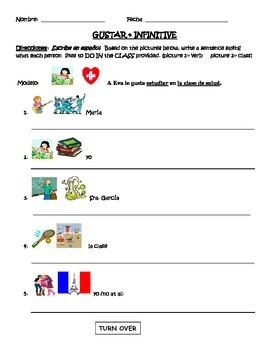 Spanish  worksheet- La escuela (GUSTAR + infinitive)