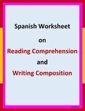 Spanish worksheet on reading comprehension and writing com