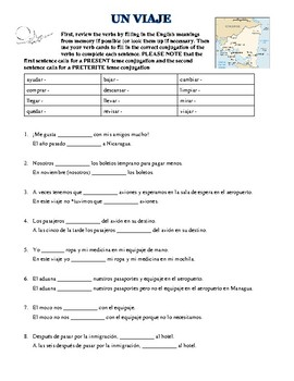 spanish worksheet using regular preterite tense and travel vocab. Black Bedroom Furniture Sets. Home Design Ideas