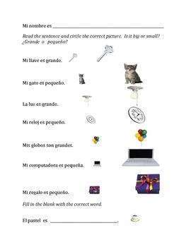 Spanish Picture WKSHTS for kids - Vocab builder (10 wksheets)