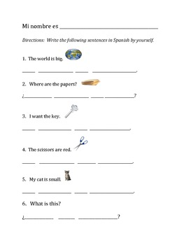 Spanish Picture WKSHTS for kids - Vocab builder (10 wksheets)