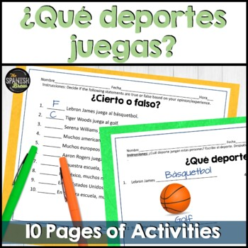 Spanish worksheets for sports & conjugations of jugar
