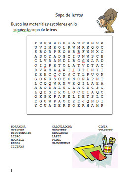 spanish worksheets school supplies by the bilingual. Black Bedroom Furniture Sets. Home Design Ideas