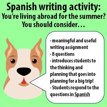 Spanish writing activity - You're living abroad! Things to