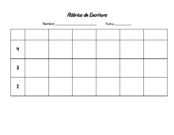 Spanish writing rubric