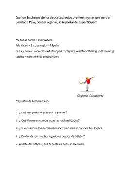 Spanish  1  Reading Comprehension  El Mundo de Deportes