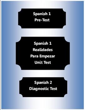 Spanish1- PreTest ~ Realidades 1 (Para Empezar) Unit test