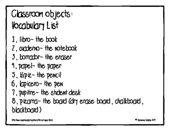 SpanishClassroom Objects Vocabulary Match- Objetos de la clase