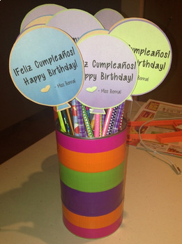 Bilingual Birthday Pencil Toppers {EDITABLE}