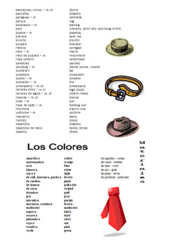 Spanish Clothing Vocabulary List Spanish/English Plus Colors and Patterns