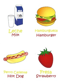 Spanish/English Food Vocabulary Speech Therapy