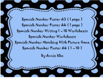 Spanish/English Number Poster,Worksheets and Matching Game