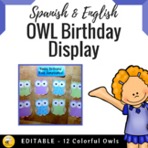 Bilingual Owl Birthday Display {EDITABLE}