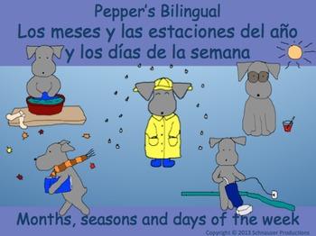 Spanish/English Seasons, Months and Days for Australia/Southern Hemisphere