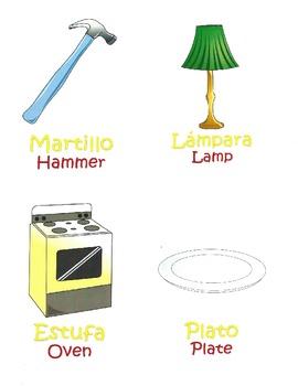 Spanish/English Vocabulary Household Items Speech Therapy