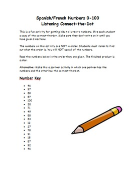 Spanish/French Numbers to 100 Connect-the-Dot Listening Activity