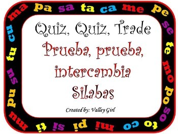Quiz, quiz, trade: Spanish Syllables M,P,S,T y C with Pictures