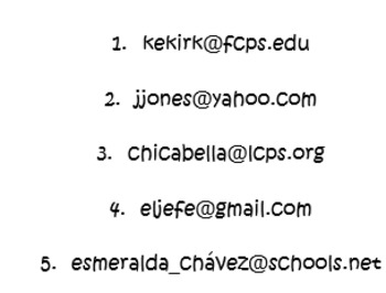 Spanish/Spanish for Fluent Speakers Alphabet Oral Activity with E-mails