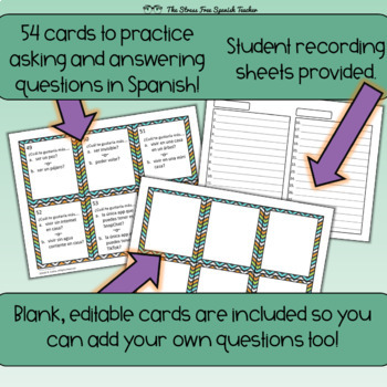 SpanishTask Cards Would You Rather Questions! 45 cards! Editable!