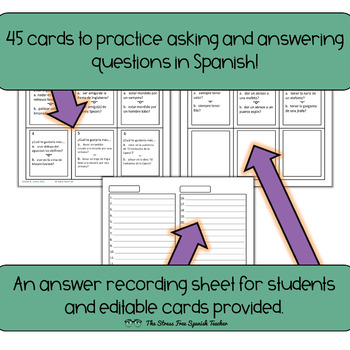 Spanish Task Cards Would You Rather Questions! 45 cards! Editable! INK FRIENDLY