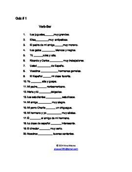 Spanish/Verb Ser & Estar-Quiz 1 & 2