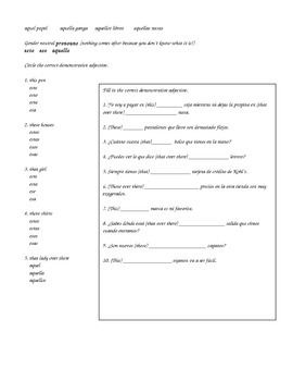 Spanish Demonstrative adjectives explanation and worksheet