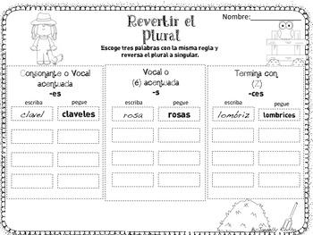 Spansih plural nouns / sutantivos plural y singular