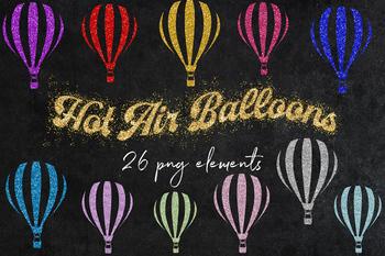 Sparkle Balloons Clipart, Hot Air Balloons, 26 PNG Shiny Balloons