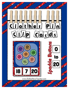 Sparkle Buttons Counting to 20 Clip Card Math Center for y
